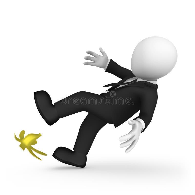 3D商人踩着香蕉 风险概念 库存例证
