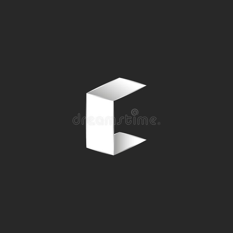 3D商标信件C等量形状字体,折叠了白色平的纸板料,印刷术身分设计元素 皇族释放例证