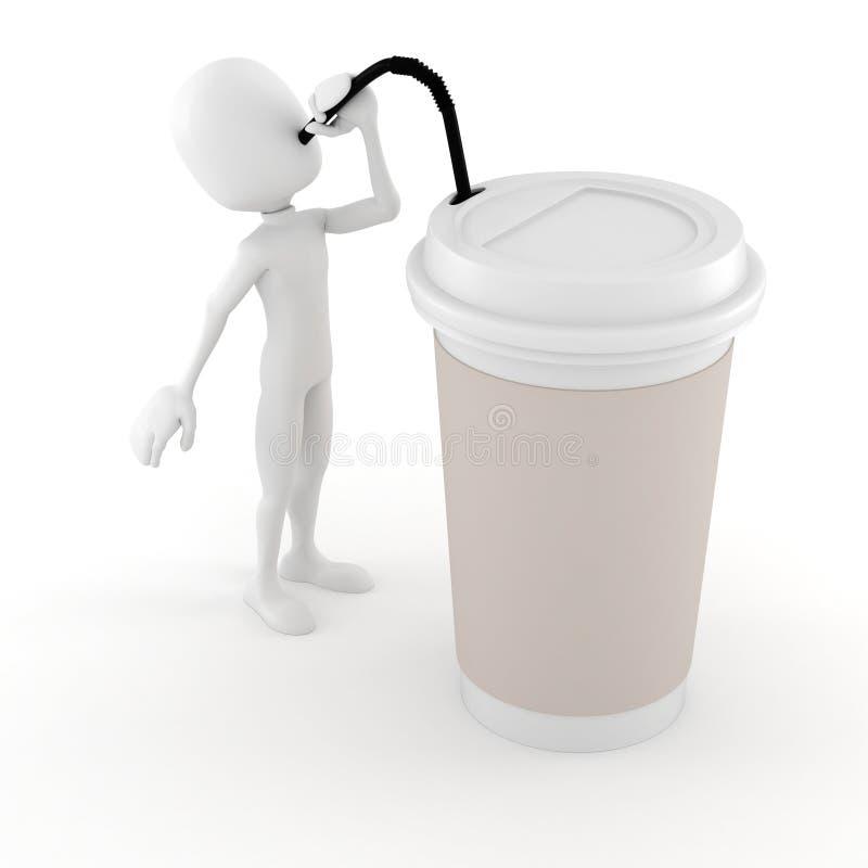 3d喝从一纸杯的人一份热的咖啡 皇族释放例证