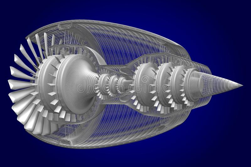 3D喷气机引擎 库存例证