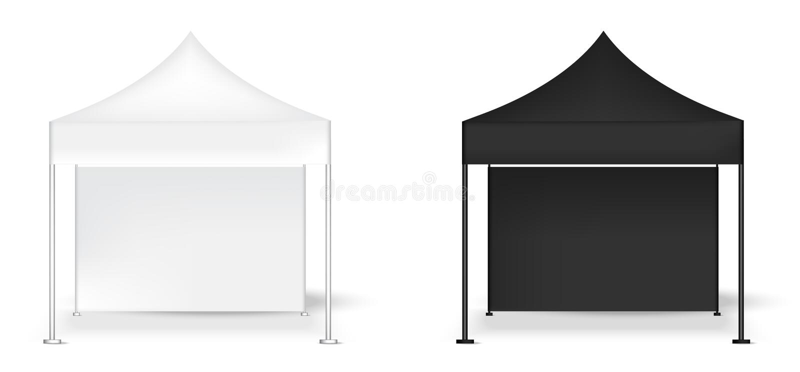 3D嘲笑现实帐篷显示墙壁POP摊待售营销促进陈列背景例证 向量例证