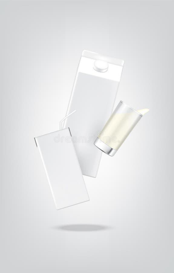3D嘲笑现实牛奶纸盒组装箱子和玻璃食物和饮料产品包装的背景的 库存例证