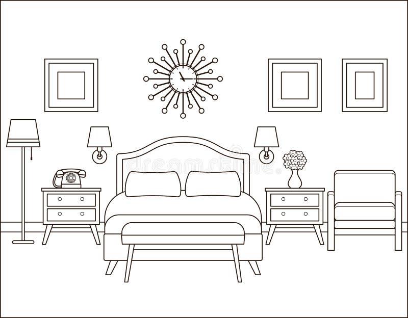 3d四周被回报的卧室内部闪电 减速火箭的设计的旅馆客房 向量Illustratio 库存例证