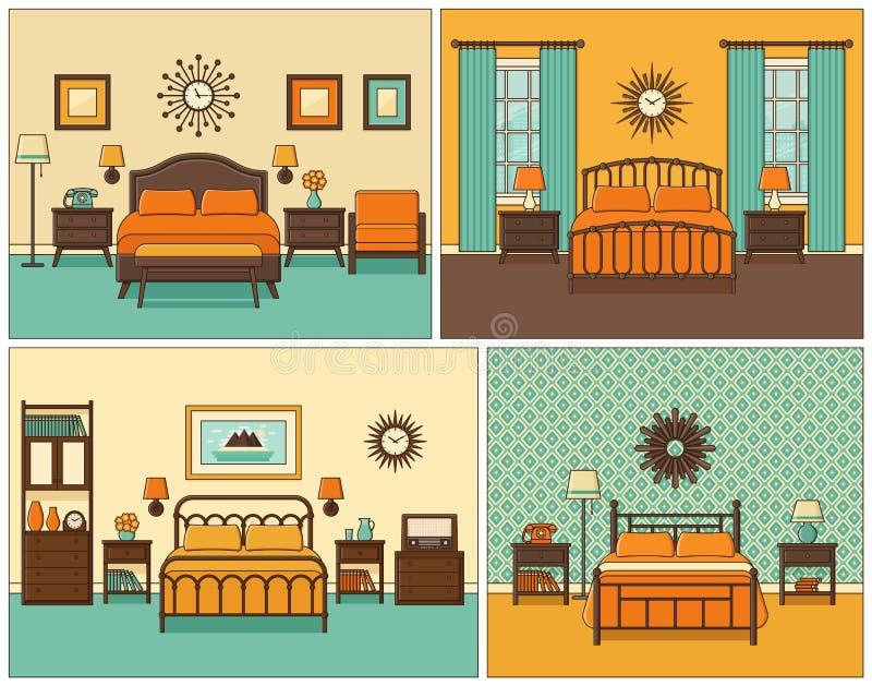 3d四周被回报的卧室内部闪电 减速火箭的设计的旅馆客房 向量Illustratio 皇族释放例证