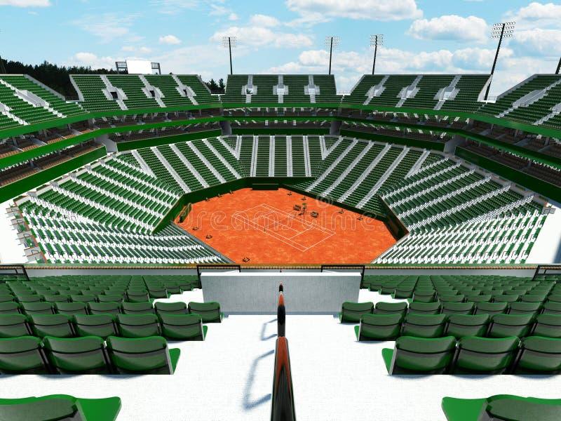 3D回报一万五千个爱好者的美好的现代网球红土网球场体育场绿色位子 库存例证