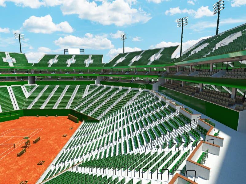 3D回报一万五千个爱好者的美好的现代网球红土网球场体育场绿色位子 向量例证