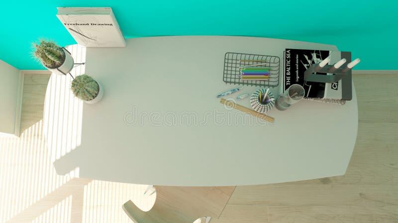 3D回报一个现代家庭办公室 库存例证