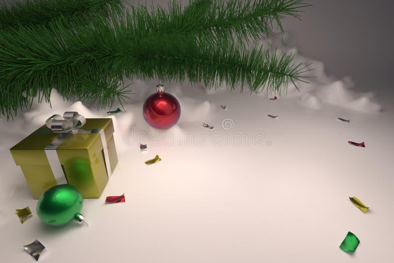 3D回报与圣诞树和礼物的一圣诞卡片 向量例证