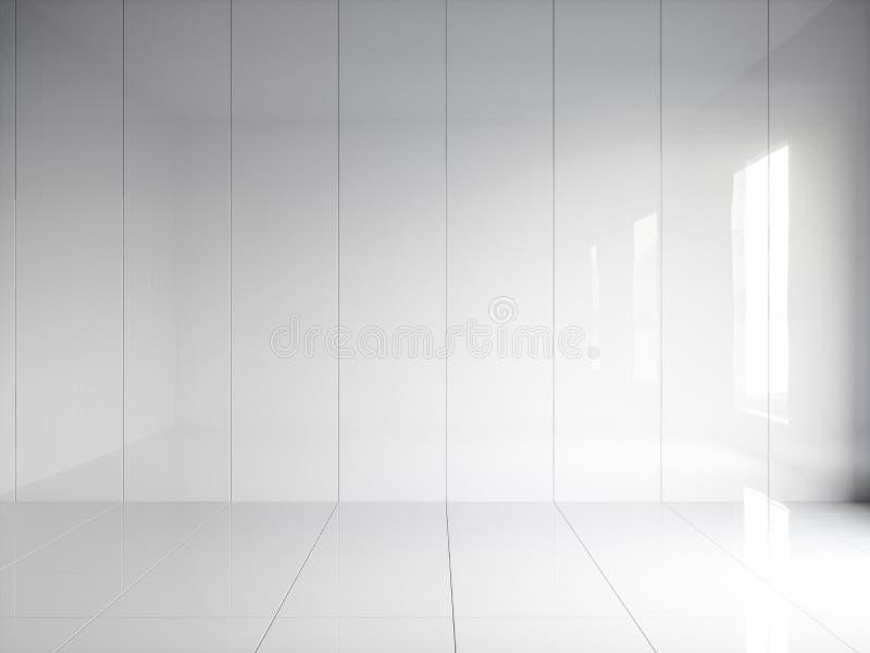 3d回报与垂直的盘区的白色光滑的内部在墙壁上 皇族释放例证