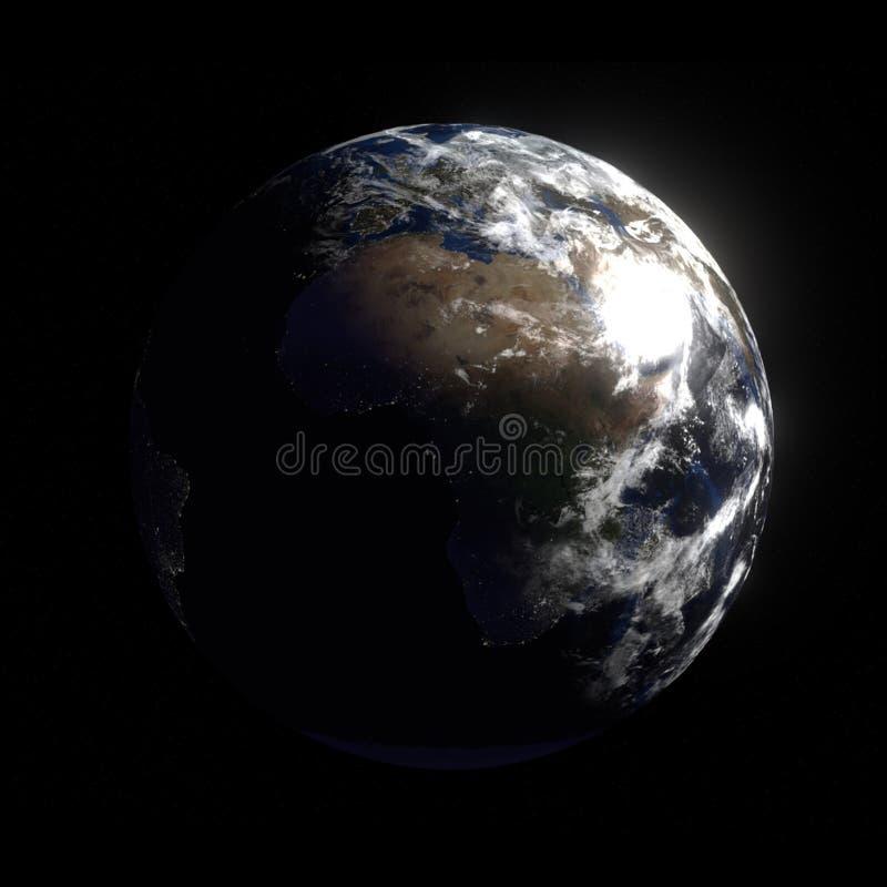 3D回报与夜光的行星地球 库存例证