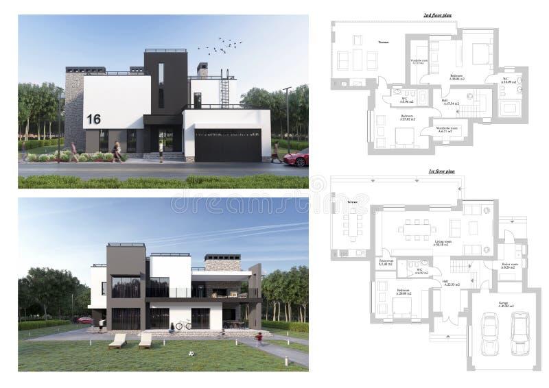 3d回报与太阳懒人、汽车、自行车、绿色草坪、人和树的一个现代私有房子、门面和后院视图 向量例证