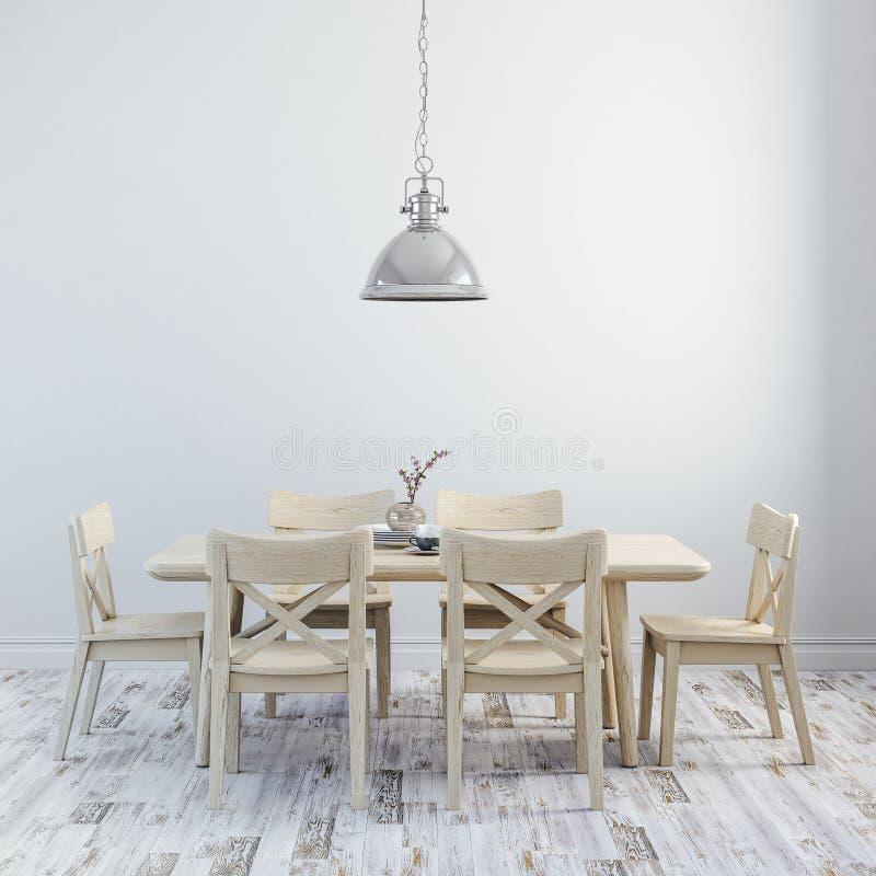 3d回报与木桌和椅子的干净的内部 皇族释放例证