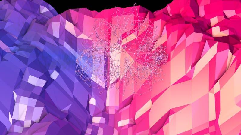 3d回报与现代梯度颜色的抽象几何背景在低多样式 3d与好的蓝色红色的表面 库存例证