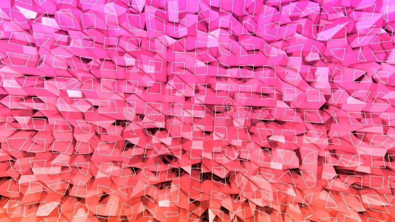 3d回报与现代梯度颜色的抽象几何背景在低多样式 3d表面用美味的桔子 库存例证