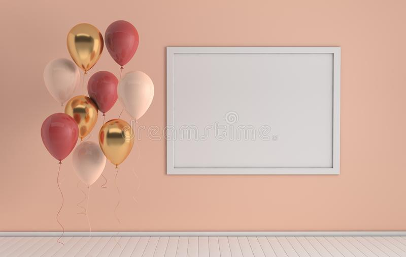 3d回报与现实金黄的内部,红色,并且白色气球,嘲笑海报框架在屋子里 r 库存例证