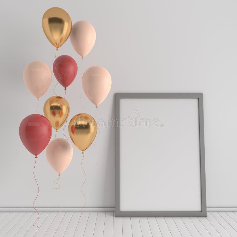 3d回报与现实金黄的内部,红色,并且米黄气球,嘲笑海报在屋子里 r 向量例证