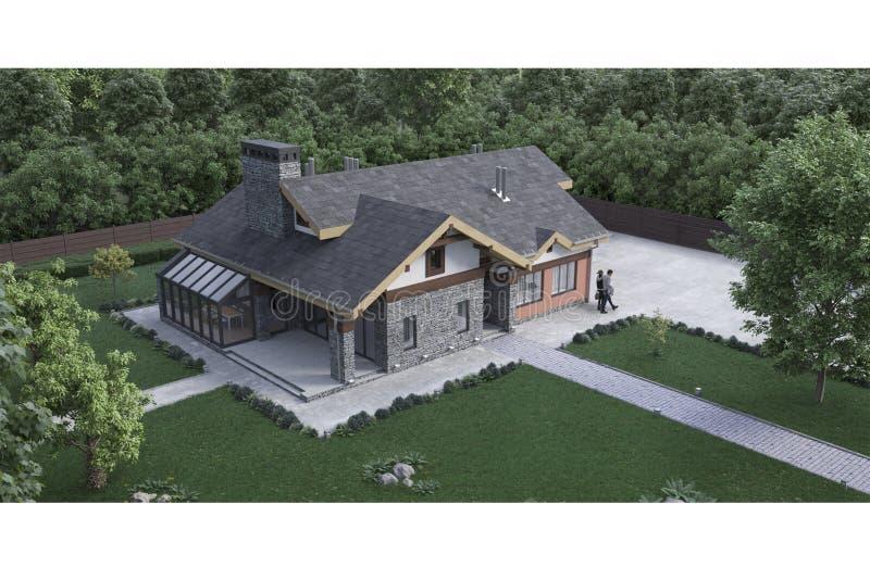 3d回报与绿色草坪和树的一个现代私有房子石头纹理门面,等量,鸟眼睛 向量例证