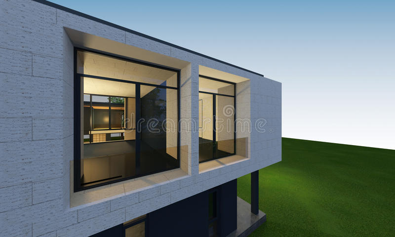 3D回报与裁减路线的热带房子空间 向量例证