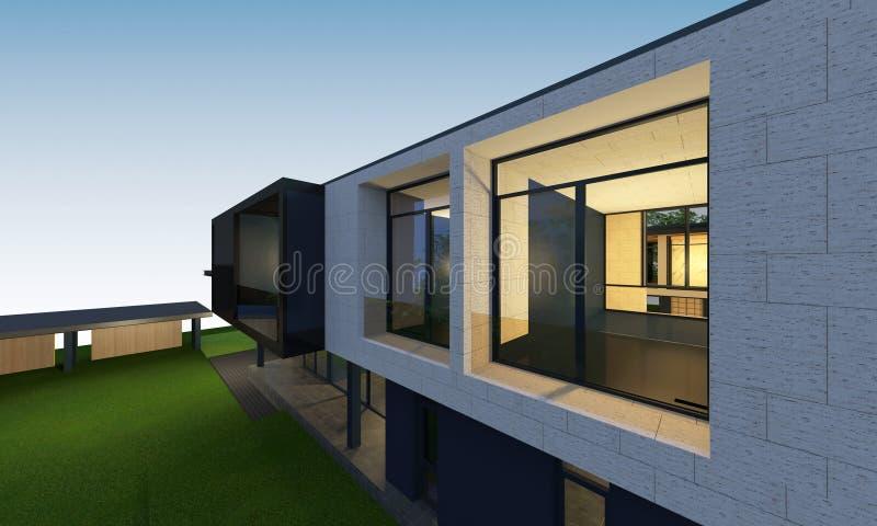3D回报与裁减路线的热带房子空间 库存例证