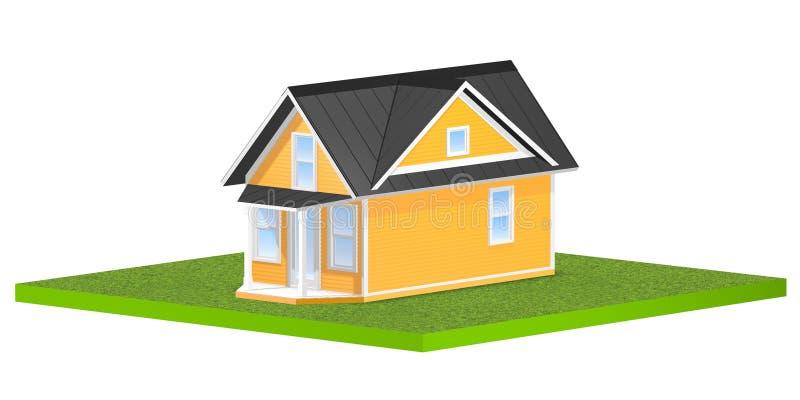 3D回报了一个微小的家的例证一块方形的象草的地皮的或围场 查出在白色 库存例证