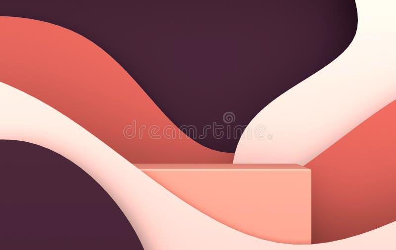 3d回报了与纸波浪和指挥台的场面 产品介绍的平台,嘲笑背景 抽象构成 向量例证