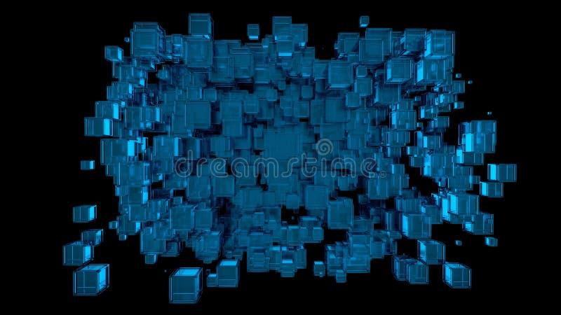 3D回报了与bkue玻璃立方体的抽象装饰图象在黑背景中 库存例证