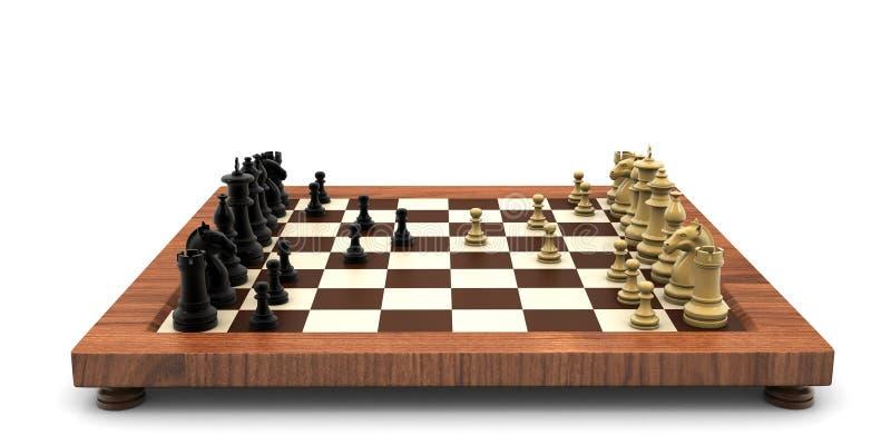 3d回报了在白色背景隔绝的木委员会的棋争斗 库存例证