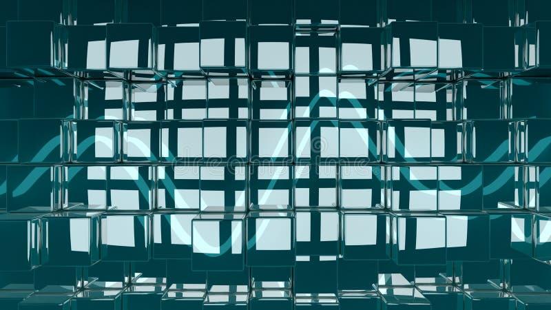 3D回报了抽象光滑的立方体背景例证 皇族释放例证