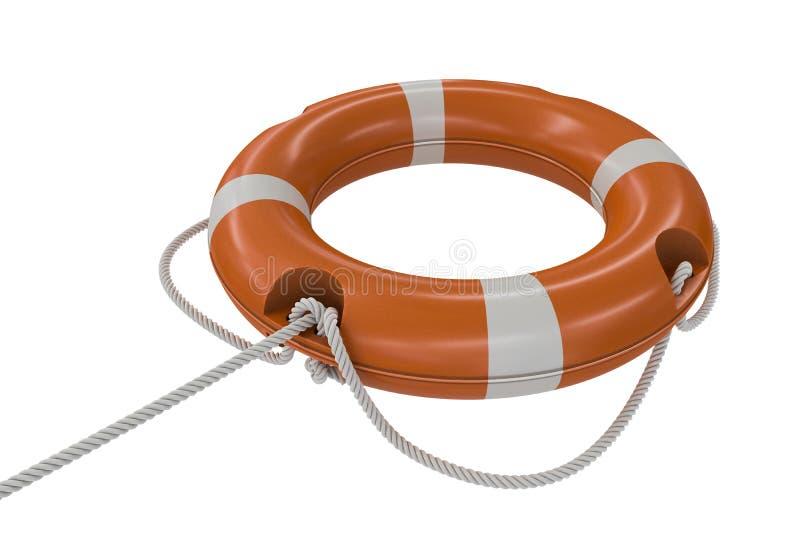 3D回报了橙色救生圈的例证 背景查出的白色 皇族释放例证
