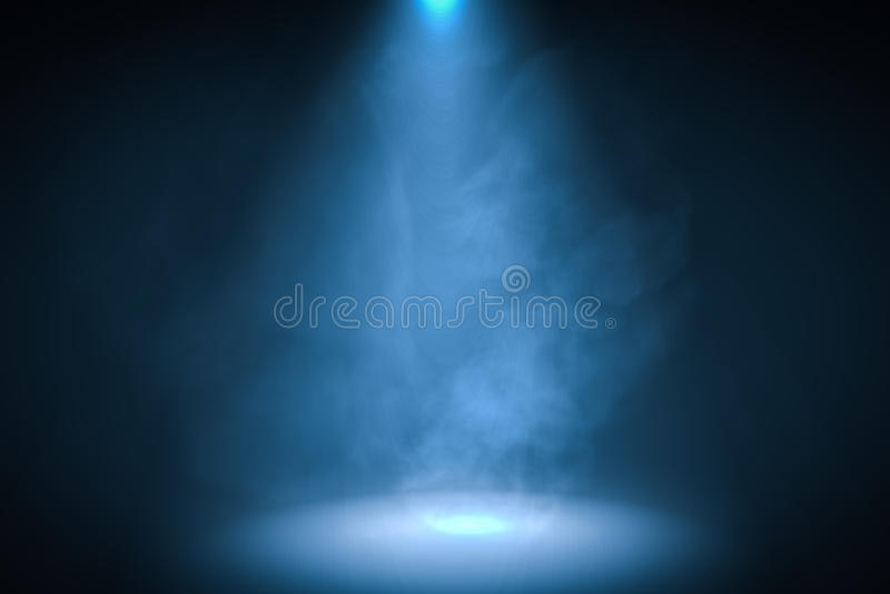 3D回报了蓝色聚光灯背景的例证与烟的 皇族释放例证