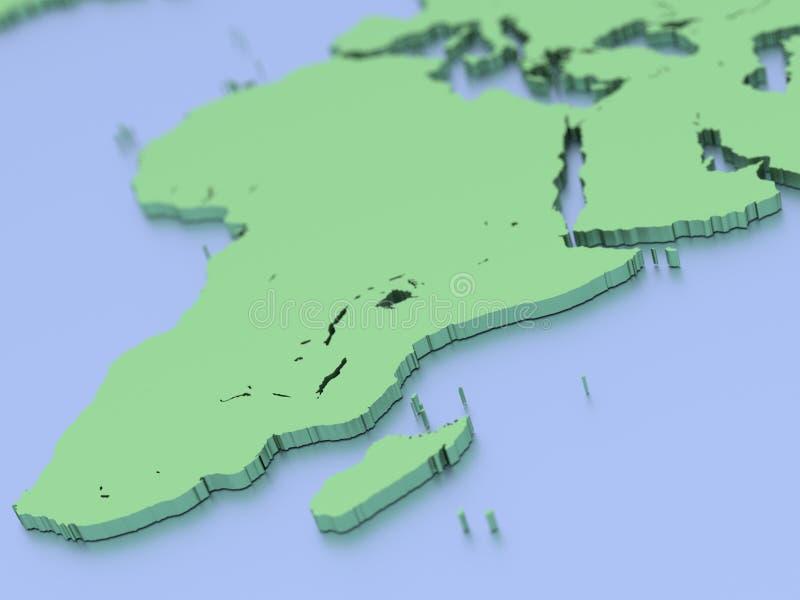 3D回报了非洲的地图 库存例证
