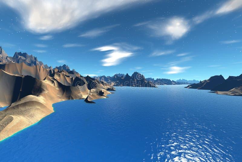 3d回报了幻想外籍人行星 小珠靠岸的 向量例证