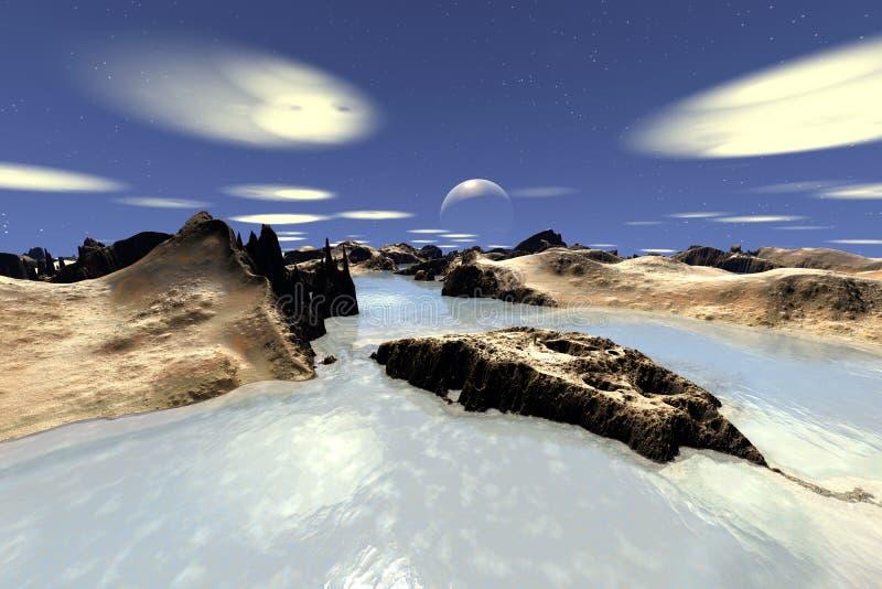 3d回报了幻想外籍人行星 小珠靠岸的 皇族释放例证
