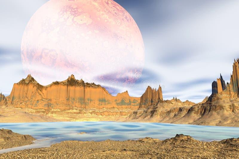 3d回报了幻想外籍人行星 小珠靠岸的 库存例证
