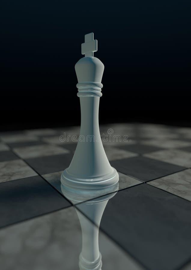 3D回报单独白色国王棋子在棋盘3 皇族释放例证