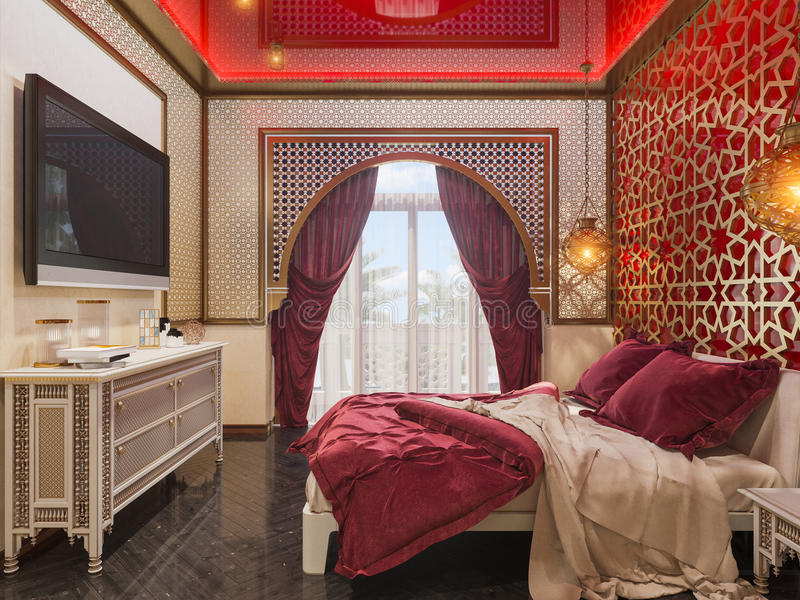 3d回报卧室伊斯兰教的样式室内设计 向量例证