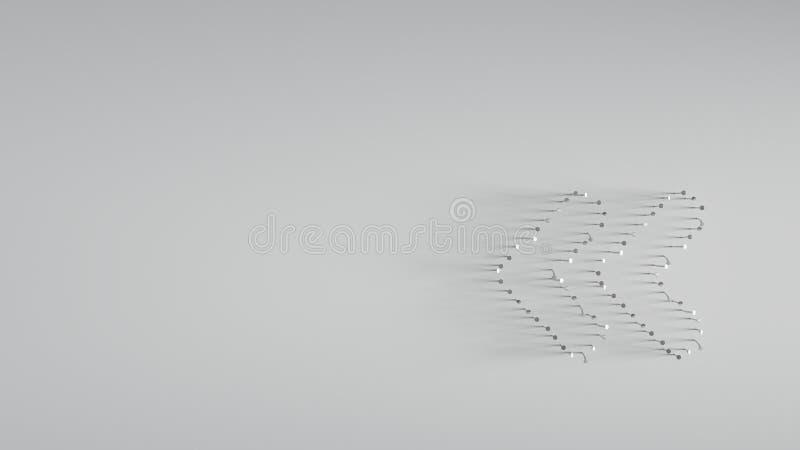 3D回报各种各样在双重左角度形状的金属钉子  向量例证