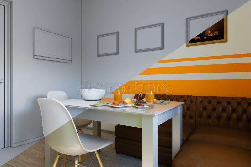 3d回报在一个现代样式的厨房设计,图片的混合,不用纹理和材料和shaders 皇族释放例证