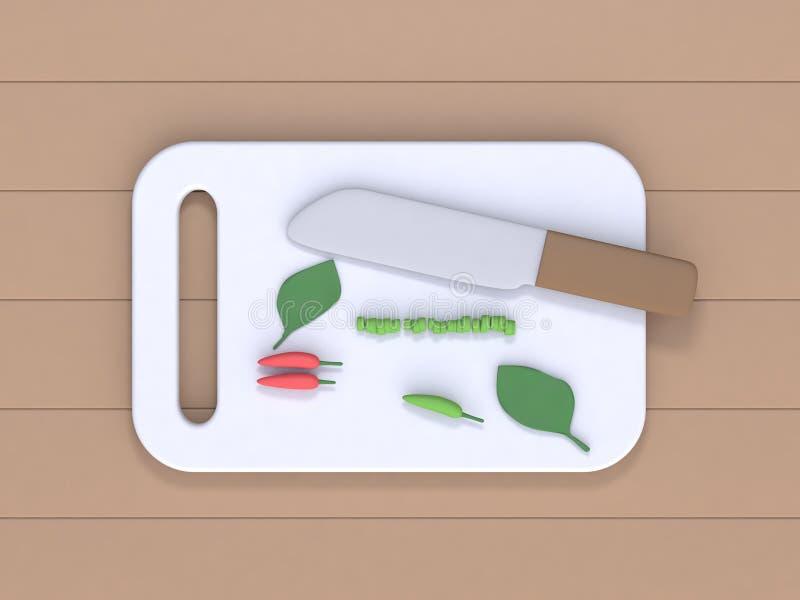 3d回报在烹调厨房概念的木桌动画片样式的刀子砧板和辣椒菜顶视图 皇族释放例证