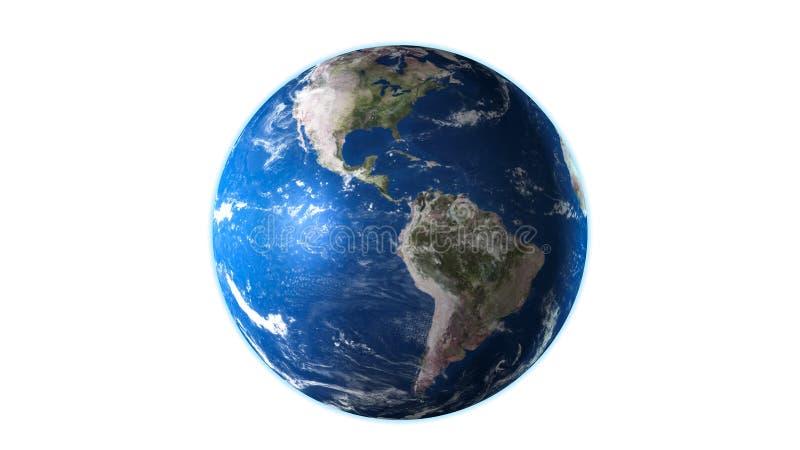 3D回报在白色背景隔绝的行星地球 向量例证