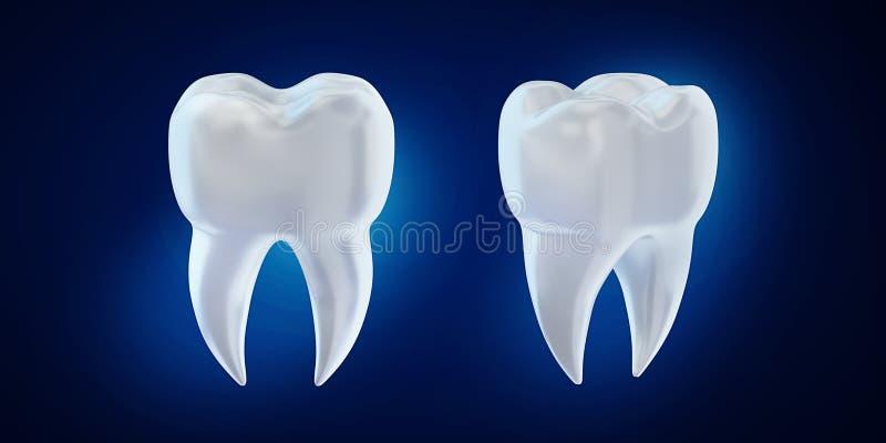 3d回报在蓝色背景的牙犬齿 向量例证