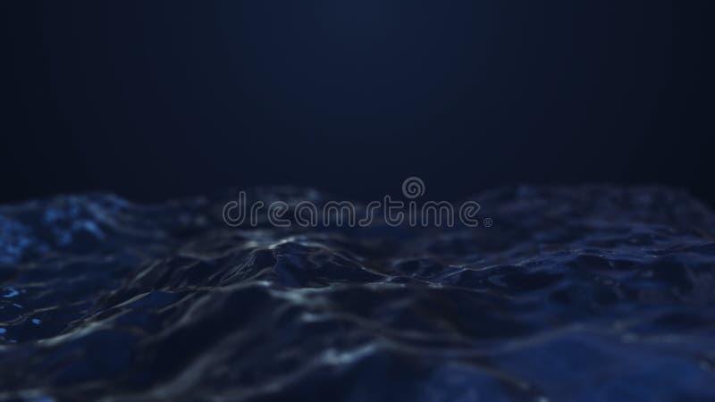 3d回报在黑暗的背景的深蓝抽象波浪 库存例证