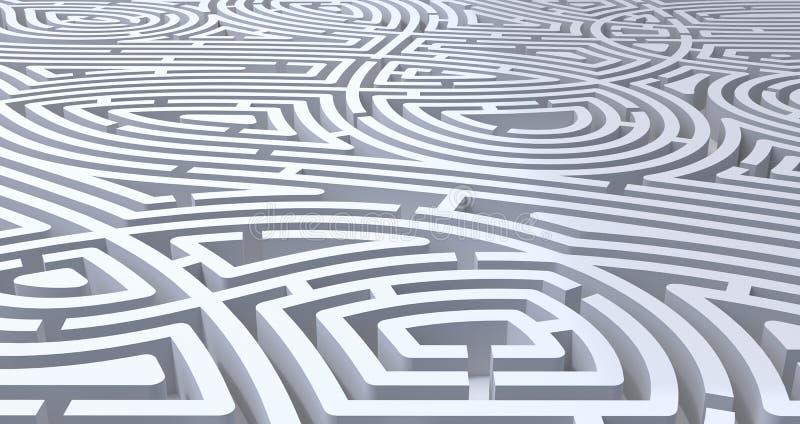 3d回报复杂的白色迷宫抽象白色背景 库存例证