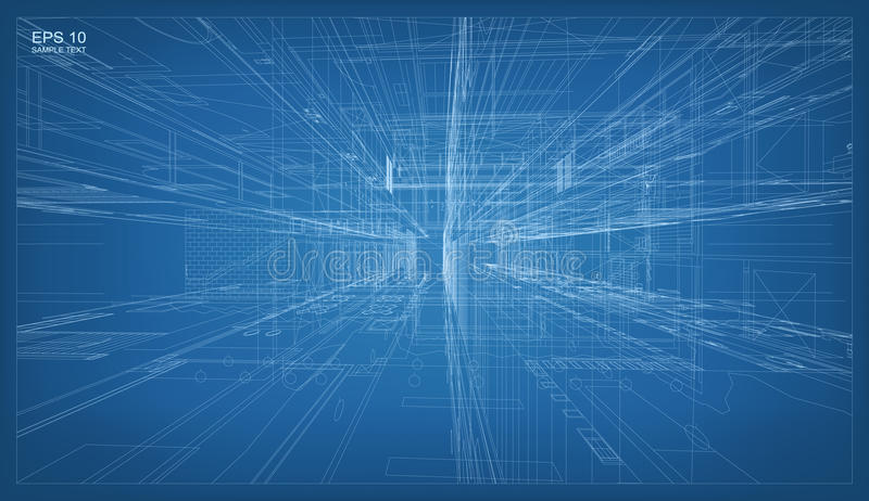 3D回报大厦wireframe结构 建筑的传染媒介 向量例证