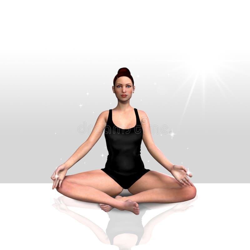 3d回报女性做的瑜伽 皇族释放例证