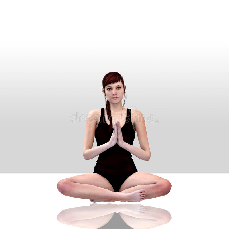 3d回报女性做的瑜伽 库存例证