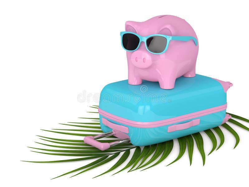 3d回报带着手提箱的存钱罐在白色 向量例证