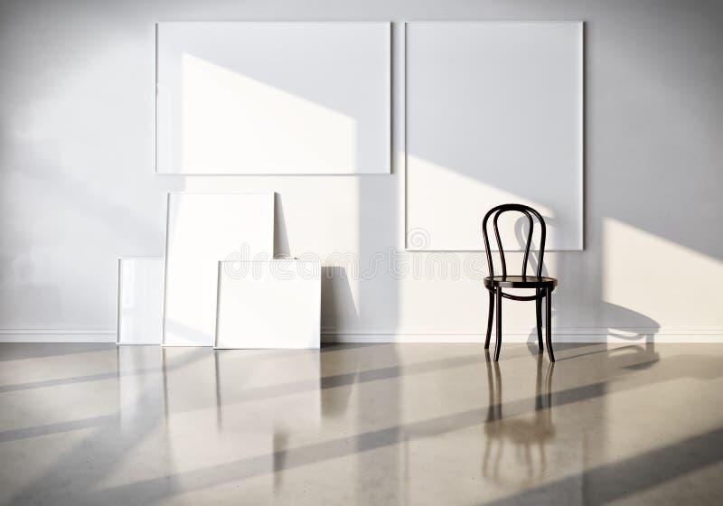 3d回报广告、绘画和海报的布局 有帆布和椅子的绝尘室 大模型 免版税库存图片