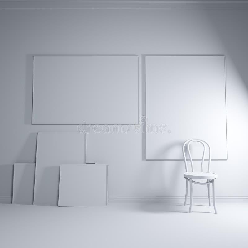 3d回报广告、绘画和海报的布局 有帆布和椅子的绝尘室 大模型 库存例证