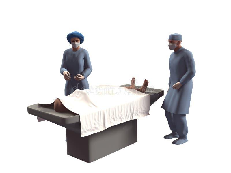 3d回报护士和尸体在太平间 免版税库存图片